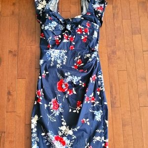 Navy floral accented fitted dress